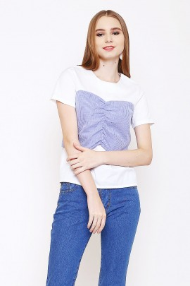 Top with fake-contrast-bustier-shape
