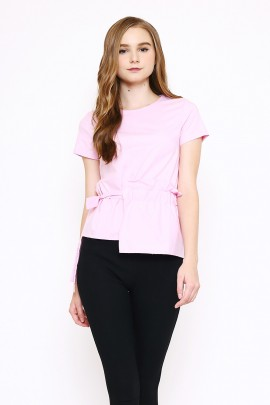 Top with one side frill and self fabric belt -pink