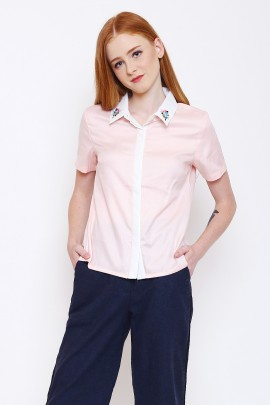Blouse with embroidery at collar