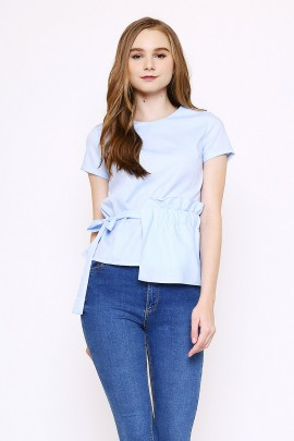 Top with one side frill and self fabric belt - blue