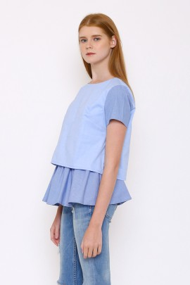 Top with contrast detail and layered frill