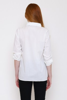 Shirt with asymmetric frill at bottom hem